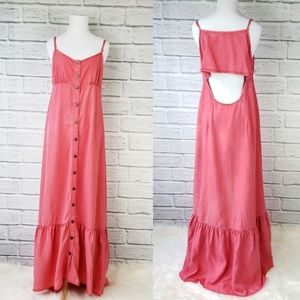 Free People Open Back Coral Prairie Maxi Dress